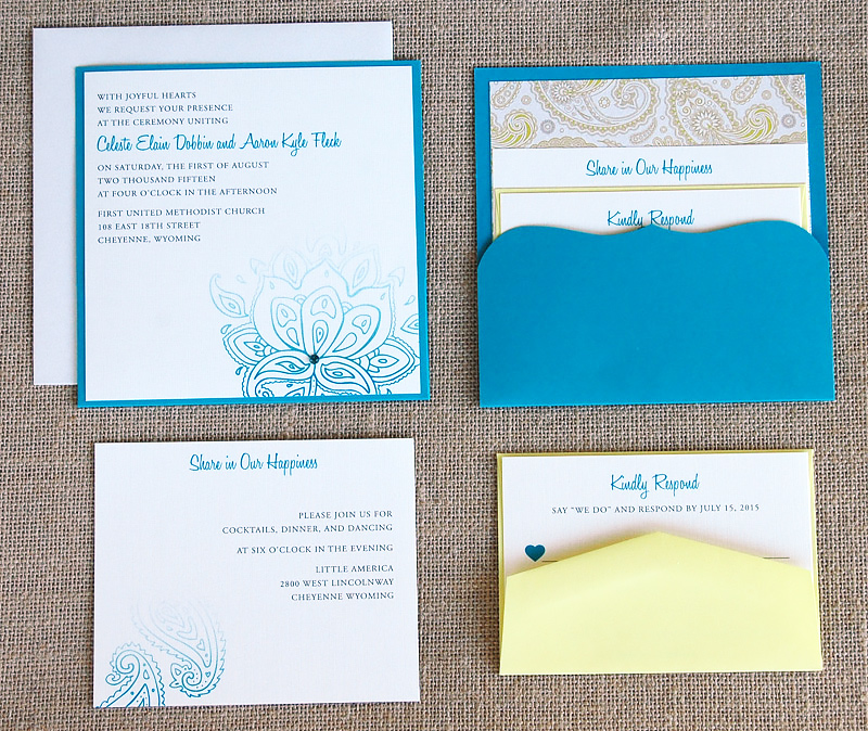 Blue and Yellow Paisley Pocket Invitation