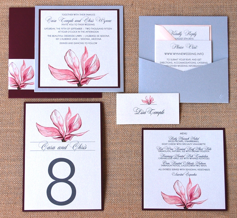Matching Flower Designed Wedding Invitation and Reception Items