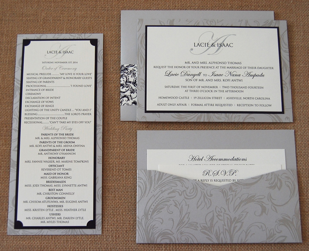 Grey Filigree Pattern Wedding Items
