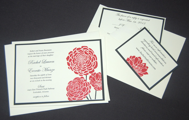 Flower Thermography Pocketcard Invitation