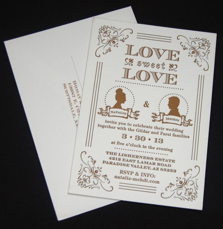 Silhouette Letterpress Wedding Invitation