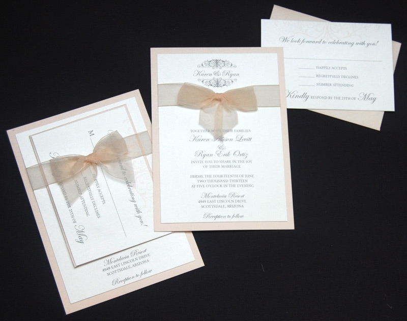 Simple Bow Pocketcard RSVP and Wedding Invitation