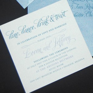 Blue Bracket Edge Wedding Invitation