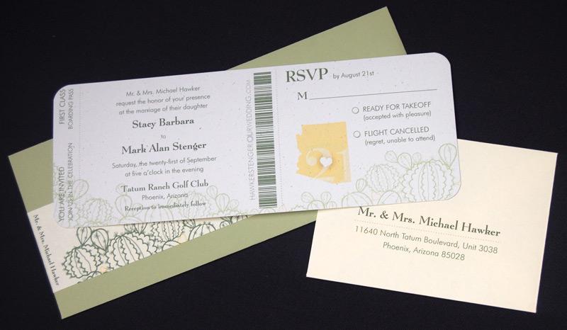 Cactus Designed Ticket RSVP and Wedding Invitation