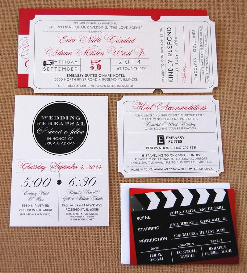 Red Elegant Ticket Invitation