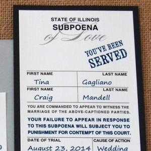 Police Subpoena Ticket Wedding Invitation