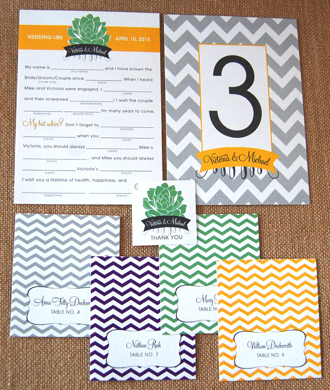 Chevron and Succulent Reception Items