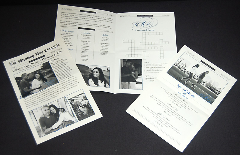 Newspaper Wedding Reception Program