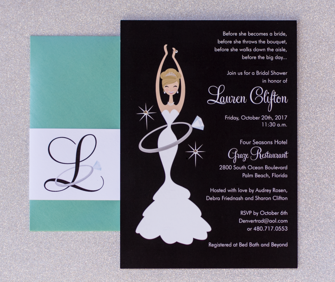 Bride and Ring Bridal Shower Invite