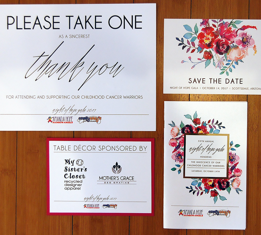 Charity Save The Date, Program, and Table Signs