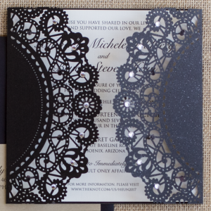 Glittering Black Lasercut Invite Suite