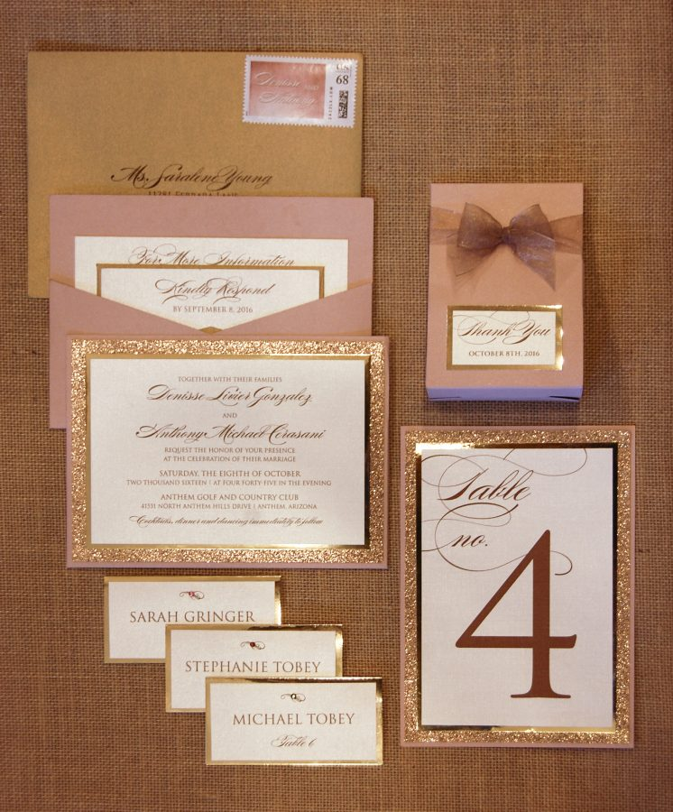 Glitter Blush & Gold Pocketcard Invite