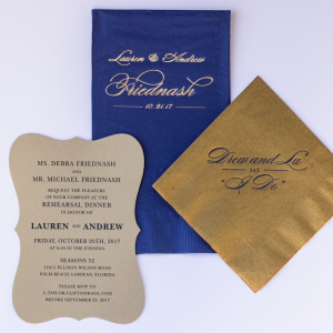 Navy and Gold Elegant Reception Items