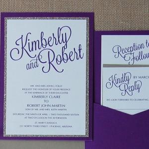 Purple and Gold Glitter Pocket Card Invite Suite