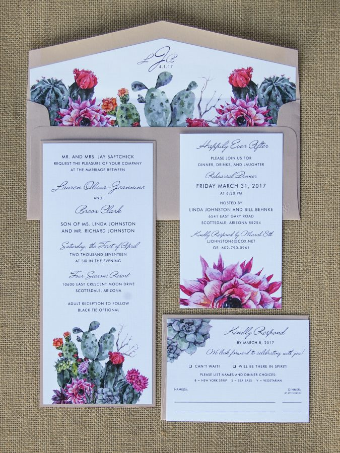 Watercolor Succulent & Cactus Wedding Invite